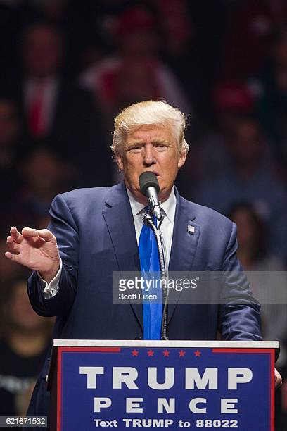 Republican presidential candidate Donald Trump speaks during a rally at the SNHU Arena on November 7 2016 in Manchester New Hampshire With one day...