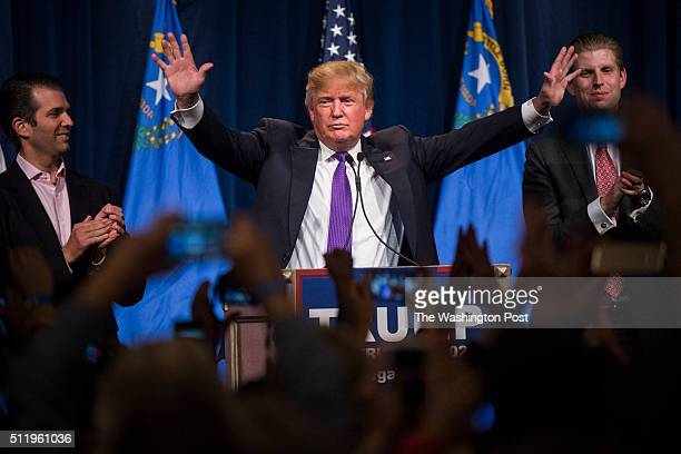 Republican presidential candidate Donald Trump speaks during a campaign watch party on the day of the Nevada republican caucus at the Treasure Island...