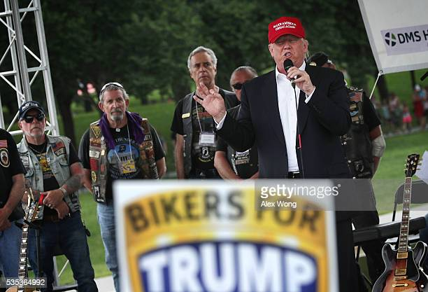 Republican presidential candidate Donald Trump speaks during the annual Rolling Thunder First Amendment Demonstration Run May 29 2016 in Washington...