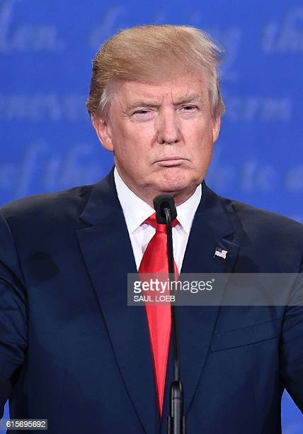 US Republican presidential candidate Donald Trump speaks during the final presidential debate at the Thomas Mack Center on the campus of the...