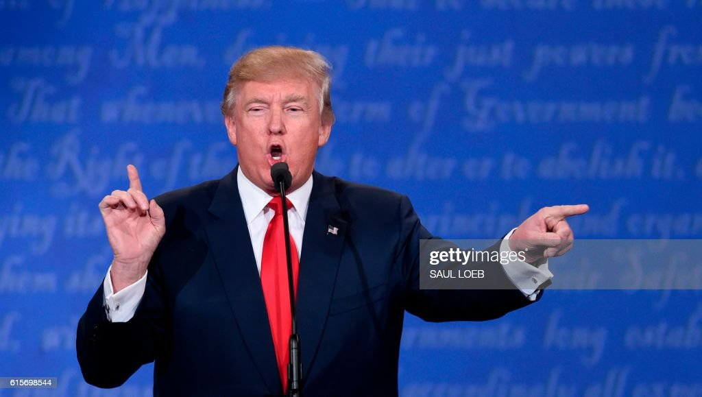 Republican presidential candidate Donald Trump speaks during the final presidential debate at the Thomas & Mack Center on the campus of the University of Las Vegas in Las Vegas, Nevada on October 19, 2016. /