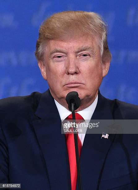 Republican presidential candidate Donald Trump speaks during the final presidential debate at the Thomas Mack Center on the campus of the University...
