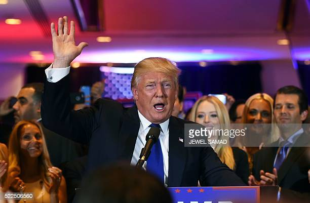 US Republican presidential candidate Donald Trump speaks following victory in the New York state primary on April 19 2016 in New York City Donald...