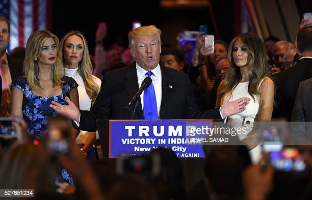 US Republican presidential candidate Donald Trump speaks in New York on May 3 following the primary in Indiana Donald Trump crushed his Republican...