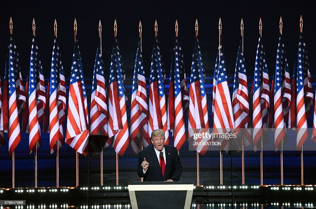 Republican presidential candidate Donald Trump speaks on the last day of the Republican National Convention on July 21, 2016, in Cleveland, Ohio. / AFP / JIM