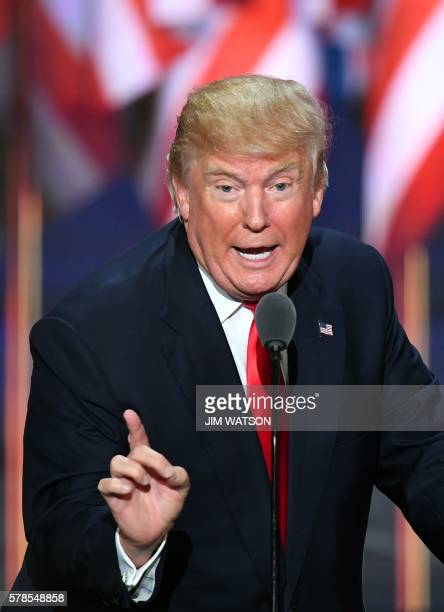 US Republican presidential candidate Donald Trump speaks on the last day of the Republican National Convention on July 21 in Cleveland Ohio / AFP...