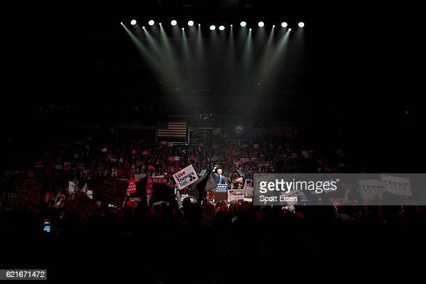Republican presidential candidate Donald Trump speaks speaks during a rally at the SNHU Arena on November 7 2016 in Manchester New Hampshire With one...