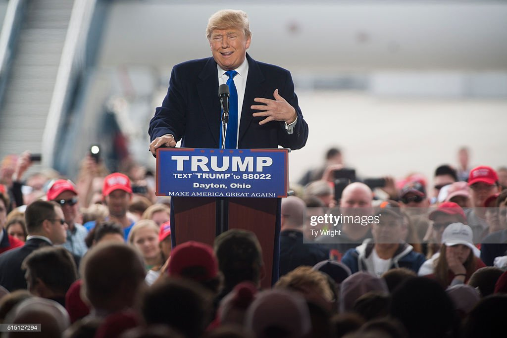 Presidential candidate donald trump holds rally in dayton ohio republican presidential candidate donald trump speaks to attendees at a campaign rally on march 12 publicscrutiny Image collections