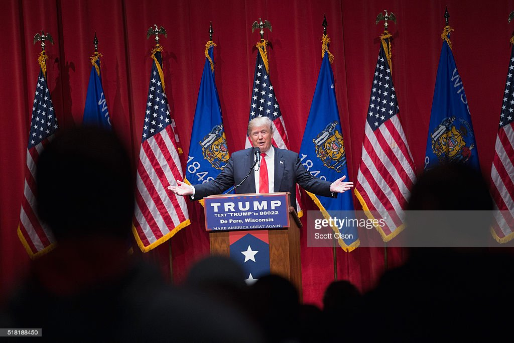 Republican presidential candidate Donald Trump speaks to guests during a campaign rally at St. Norbert College on March 30, 2016 in De Pere, Wisconsin. Wisconsin voters go to the polls for the state's primary on April 5.