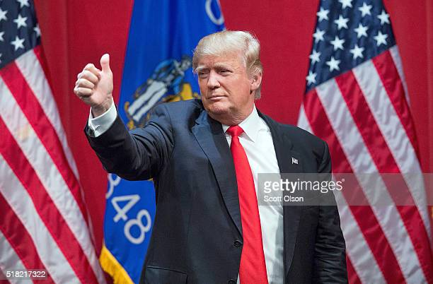 Republican presidential candidate Donald Trump speaks to guests during a campaign rally at St Norbert College on March 30 2016 in De Pere Wisconsin...
