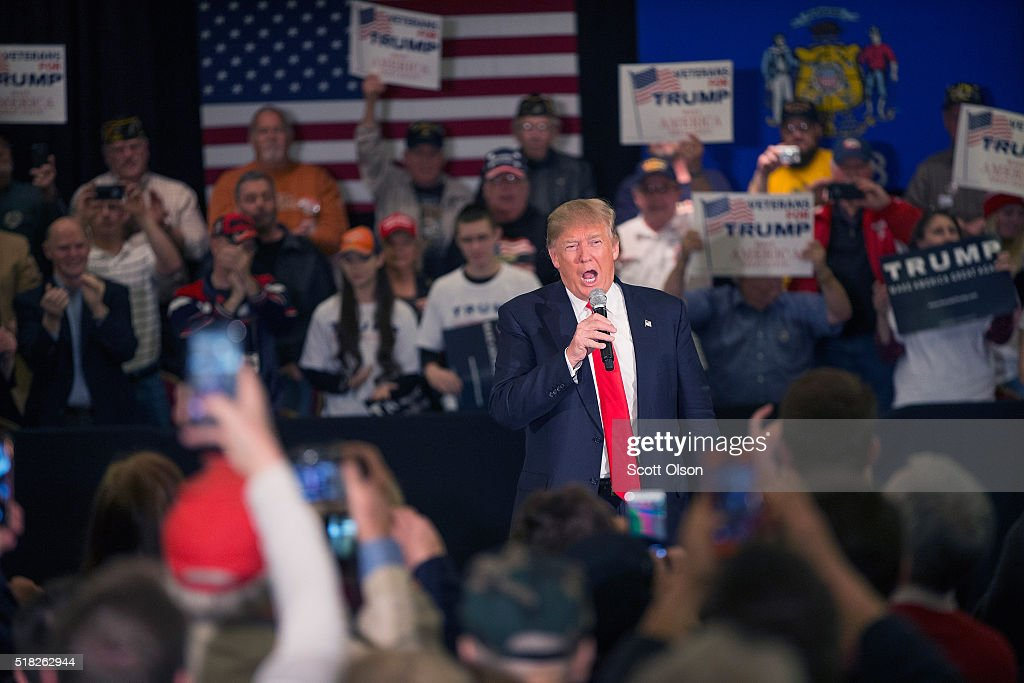 Republican presidential candidate Donald Trump speaks to guests during a campaign rally at the Radisson Paper Valley Hotel on March 30, 2016 in Appleton, Wisconsin. Wisconsin voters go to the polls for the state's primary on April 5.