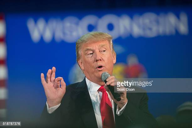 Republican presidential candidate Donald Trump speaks to guests during a campaign stop at the Central Wisconsin Convention expo Center on April 2...