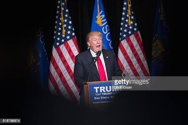 Republican presidential candidate Donald Trump speaks to guests during a campaign stop at Memorial High School on April 2 2016 in Eau Claire...