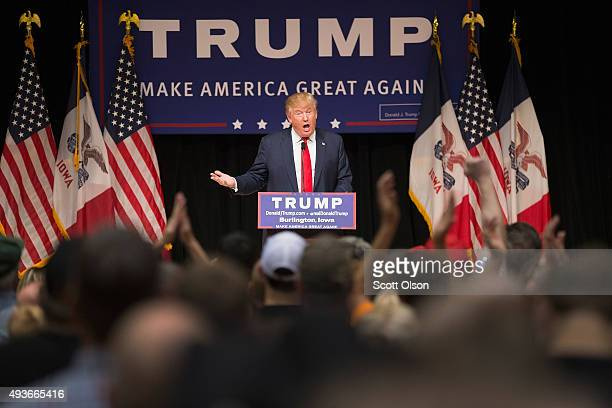 Republican presidential candidate Donald Trump speaks to guests at a campaign rally at Burlington Memorial Auditorium on October 21, 2015 in...