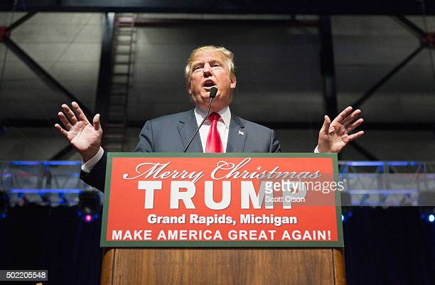 Republican presidential candidate Donald Trump speaks to guests at a campaign event on December 21 2015 in Grand Rapids Michigan The fullhouse event...