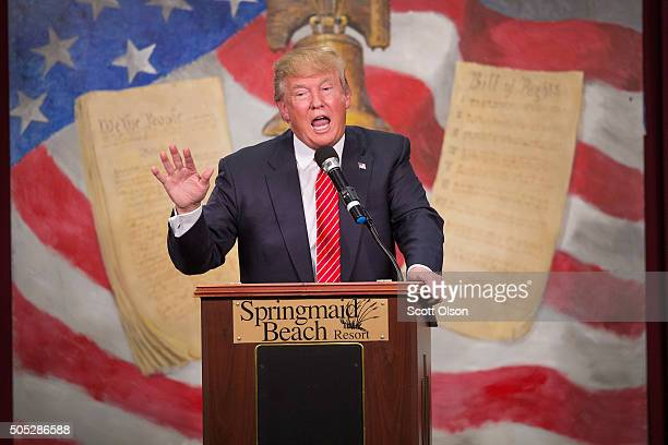 Republican presidential candidate Donald Trump speaks to guests at the 2016 South Carolina Tea Party Coalition Convention on January 16, 2016 in...