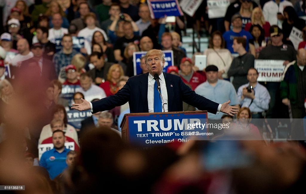 Republican presidential candidate Donald Trump speaks to guests gathered for a campaign event at the I-X Center March 12, 2016 in Cleveland, Ohio.
