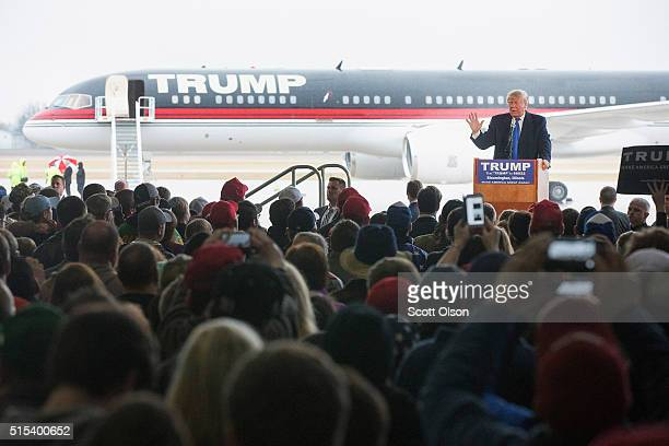 Republican presidential candidate Donald Trump speaks to guests gathered for a rally at the Central Illinois Regional Airport on March 13, 2016 in...