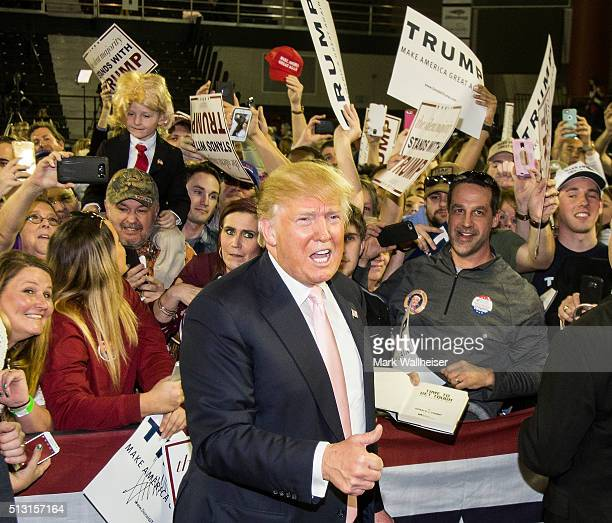 Republican presidential candidate Donald Trump speaks to supporters after a rally at Valdosta State University February 29 2016 in Valdosta Georgia...