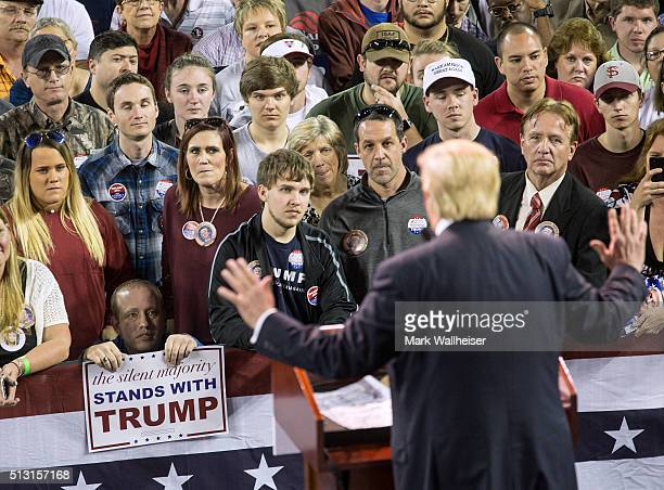Republican presidential candidate Donald Trump speaks to supporters during a rally at Valdosta State University February 29 2016 in Valdosta Georgia...
