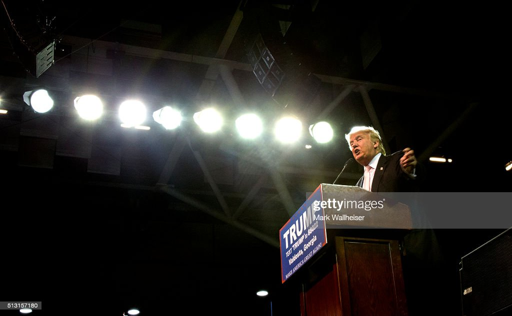 Republican presidential candidate Donald Trump speaks to supporters during a rally at Valdosta State University February 29, 2016 in Valdosta, Georgia. On the eve of the Super Tuesday primaries, Trump is enjoying his best national polling numbers of the election cycle, increasing his lead over rivals Sens. Marco Rubio (R-FL) and Ted Cruz (R-TX).
