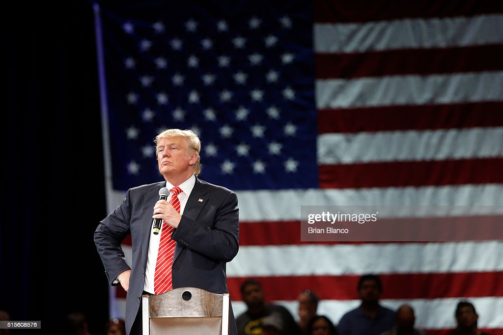 Republican presidential candidate Donald Trump speaks to supporters during a town hall meeting on March 14, 2016 at the Tampa Convention Center in Tampa , Florida. Trump is campaigning ahead of the Florida primary on March 15.