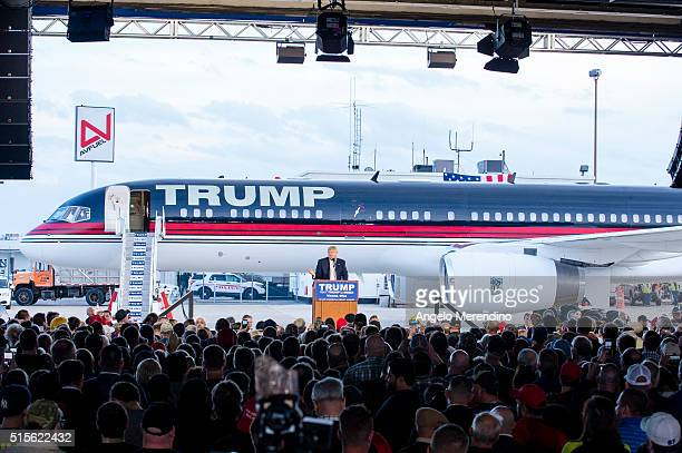 Republican presidential candidate Donald Trump speaks to supporters at Youngstown Airport on March 14 2016 in Vienna Ohio Polls show Trump and Ohio...
