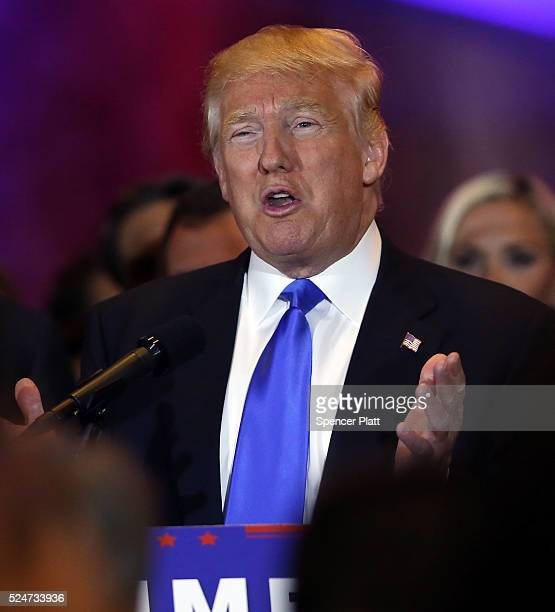 Republican presidential candidate Donald Trump speaks to supporters and the media at Trump Towers following the conclusion of primaries Tuesday in...