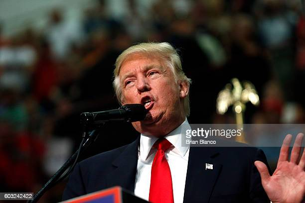 Republican presidential candidate Donald Trump speaks to supporters at a rally on September 12 2016 at US Cellular Center in Asheville North Carolina...