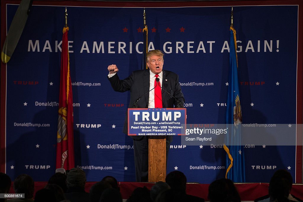 Republican presidential candidate Donald Trump speaks to the crowd at a Pearl Harbor Day Rally at the U.S.S. Yorktown December 7, 2015 in Mt. Pleasant, South Carolina. The South Carolina Republican primary is scheduled for February 20, 2016.