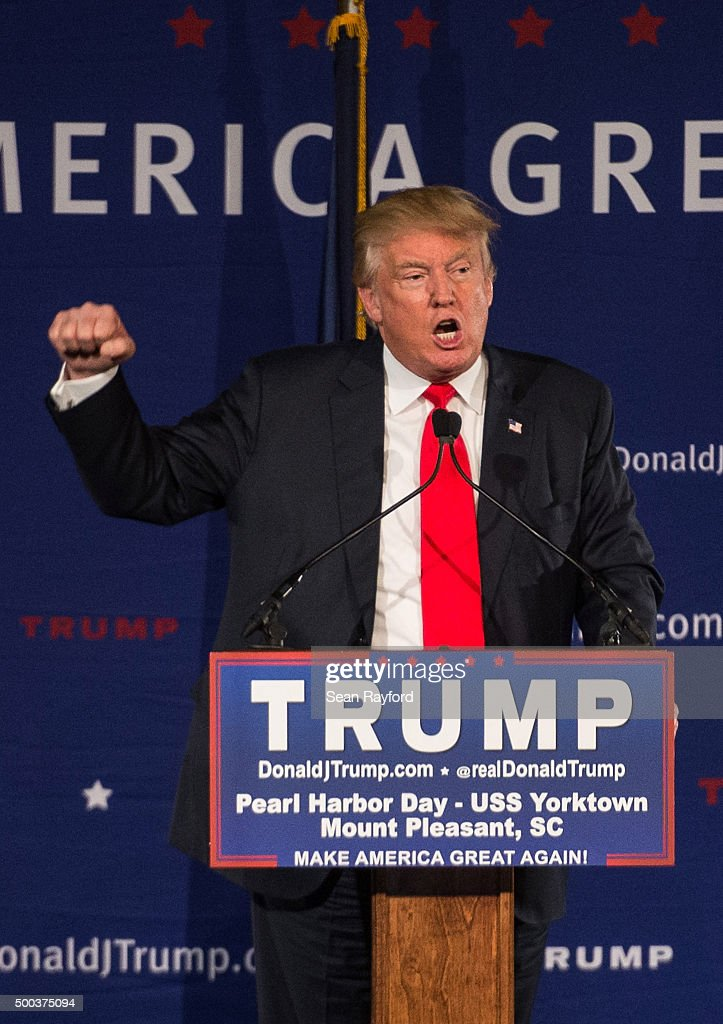 Donald Trump Holds Pearl Harbor Day Rally At USS Yorktown : News Photo