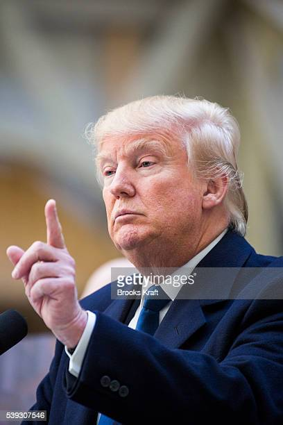 Republican presidential candidate Donald Trump speaks to the media during a campaign press conference at the at the Old Post Office Pavilion soon to...