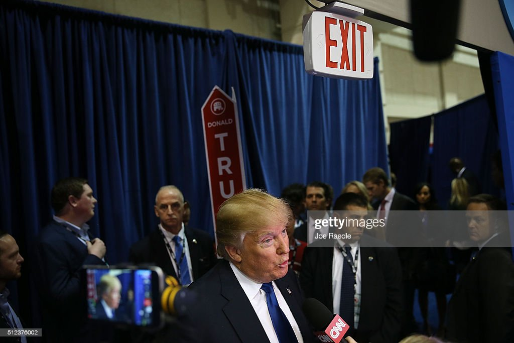 Republican presidential candidate Donald Trump speaks to the media in the spin room after the Republican National Committee Presidential Primary Debate at the University of Houston's Moores School of Music Opera House on February 25, 2016 in Houston, Texas. The candidates are meeting for the last Republican debate before the Super Tuesday primaries on March 1.