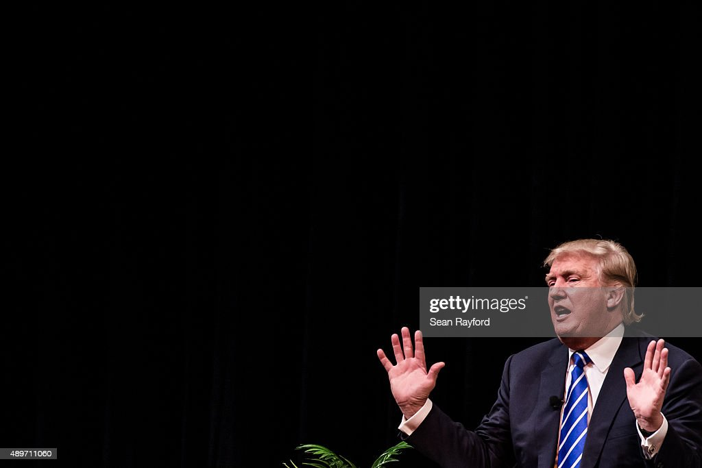 Republican presidential candidate Donald Trump speaks to voters at a campaign event September 23, 2015 in Columbia, South Carolina. Earlier today Trump tweeted 'FoxNews has been treating me very unfairly & I have therefore decided that I won't be doing any more Fox shows for the foreseeable future.'