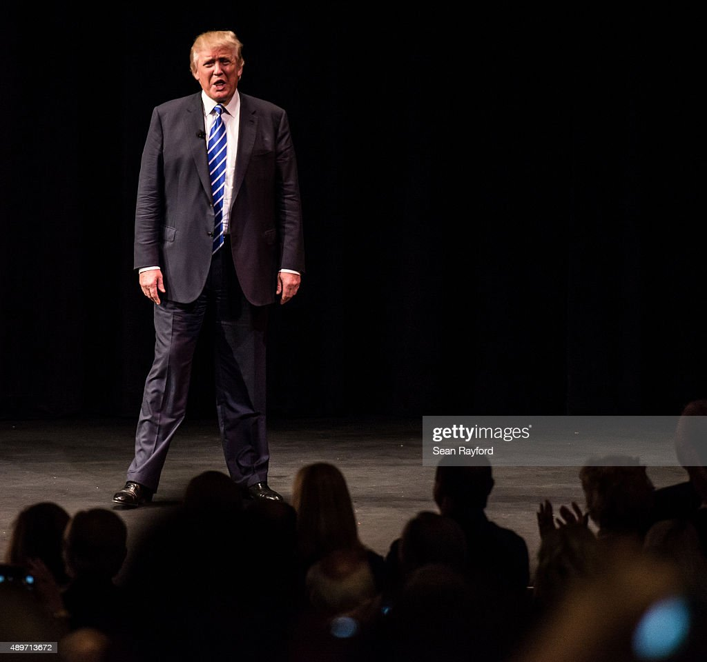 Republican presidential candidate Donald Trump speaks to voters at a campaign event September 23, 2015 in Columbia, South Carolina. Earlier today, Trump tweeted 'FoxNews has been treating me very unfairly & I have therefore decided that I won't be doing any more Fox shows for the foreseeable future.'