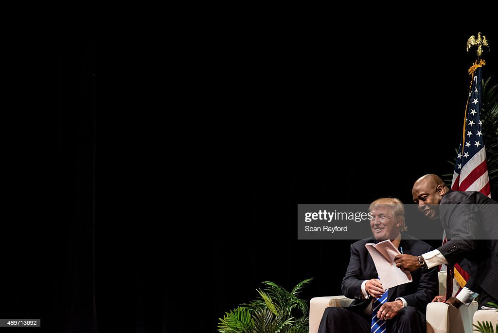 Republican presidential candidate Donald Trump speaks to voters with U.S. Sen. Tim Scott (R-SC) at a campaign event September 23, 2015 in Columbia, South Carolina. Earlier today, Trump tweeted 'FoxNews has been treating me very unfairly & I have therefore decided that I won't be doing any more Fox shows for the foreseeable future.'