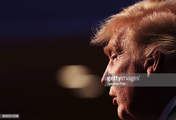 Republican presidential candidate Donald Trump speaks while accepting the Conservative Party of New York State's nomination for president on...