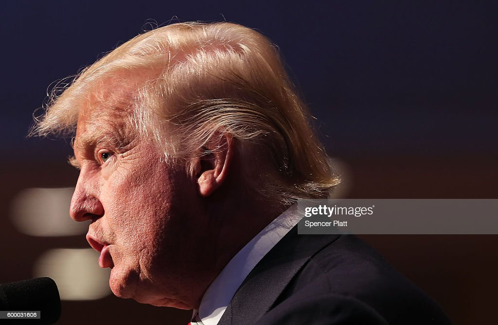 Republican presidential candidate Donald Trump speaks while accepting the Conservative Party of New York State's nomination for president on September 7, 2016 in New York City. Following the event Trump will take part in a forum with Hillary Clinton, to answer questions on veterans issues and national security.
