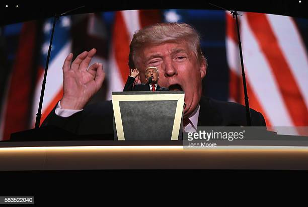 Republican presidential candidate Donald Trump speaks while formally accepting his party's nomination on the fourth day of the Republican National...