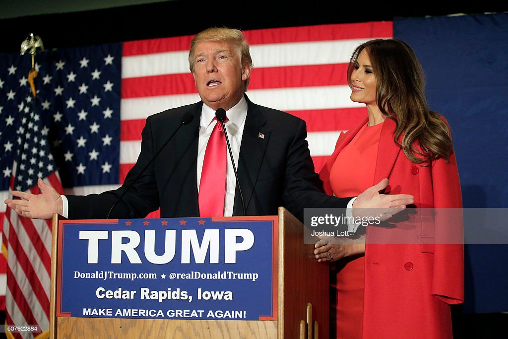 Donald Trump Holds Final Iowa Campaign Rallies On Day Of Caucuses : News Photo