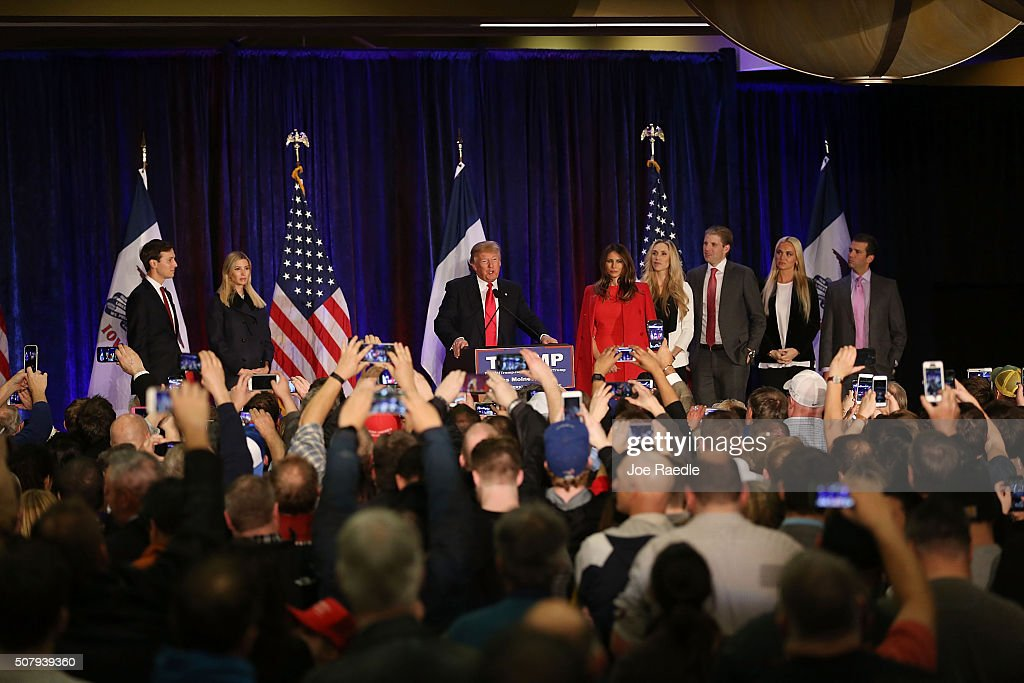 Republican presidential candidate Donald Trump stands with his family as he concedes defeat in the Iowa caucuses at the Sheraton Hotel on February 1, 2016 in Des Moines, Iowa. U.S. Sen. Ted Cruz (R-TX) out-polled Trump and Sen. Marco Rubio (R-FL), who finished a strong third to Trump.