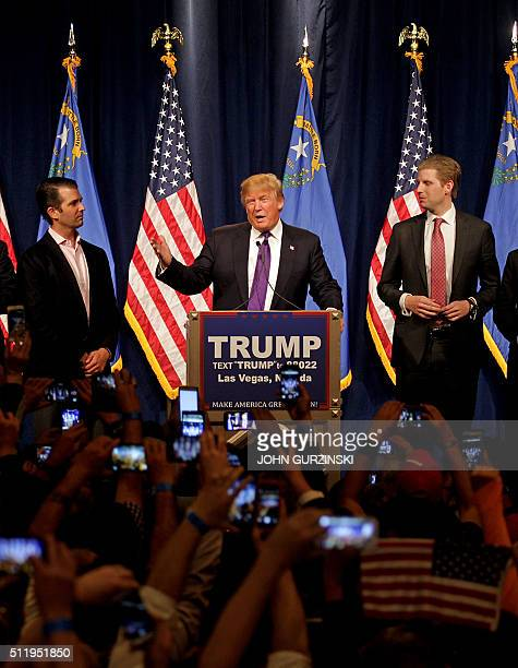 Republican presidential candidate Donald Trump surrounded by his family declares victory winning Nevadas First in the West presidential caucus at the...