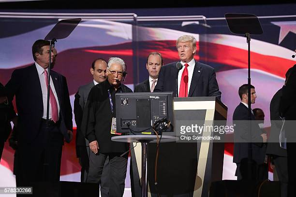 Republican presidential candidate Donald Trump tests the teleprompters and microphones on stage before the start of the fourth day of the Republican...