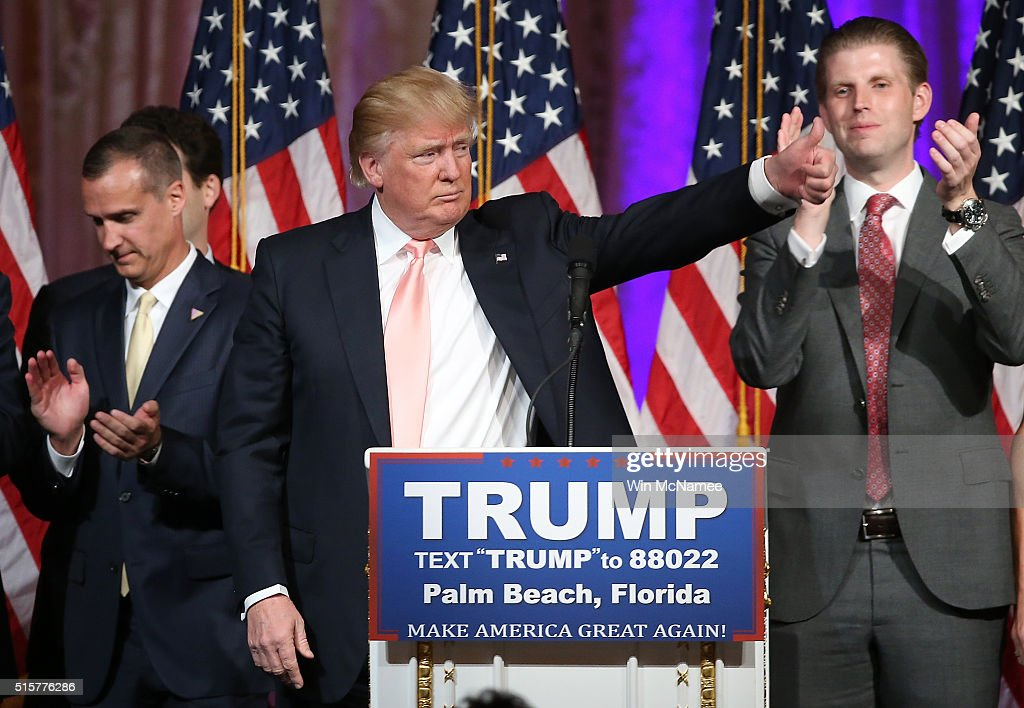 Republican presidential candidate Donald Trump thanks supporters after delivering remarks at the Mar-A-Lago Club's Donald J. Trump Ballroom March 15, 2016 in Palm Beach, Florida. Trump won the state of Florida and Ohio Gov. John Kasich won the state of Ohio.