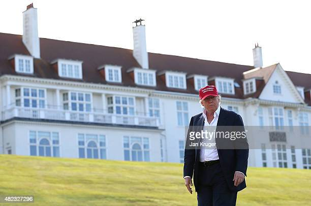 Republican Presidential Candidate Donald Trump visits his Scottish golf course Turnberry on July 30 2015 in Ayr Scotland Donald Trump will answer...