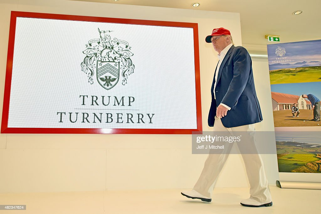 Republican Presidential Candidate Donald Trump visits his Scottish golf course Turnberry on July 30, 2015 in Ayr, Scotland. Donald Trump answered questions from the media at a press conference.