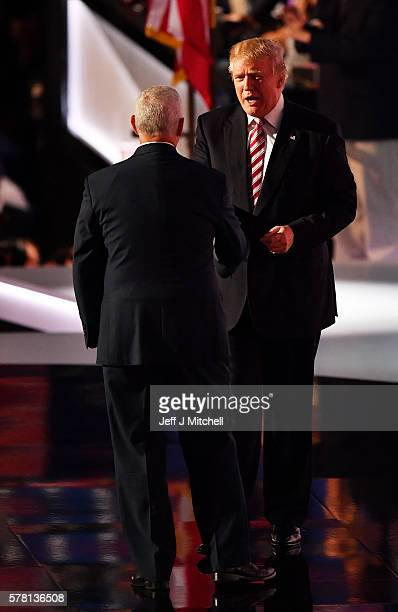 Republican presidential candidate Donald Trump walks on stage after Republican vice presidential candidate Mike Pence delivered a speech on the third...
