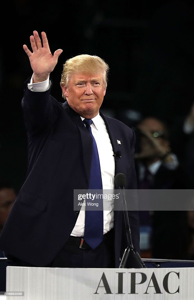 Republican presidential candidate Donald Trump waves after his address to the annual policy conference of the American Israel Public Affairs Committee (AIPAC) March 21, 2016 in Washington, DC. Presidential candidates from both parties gathered in Washington to pitch their plans for Israel.