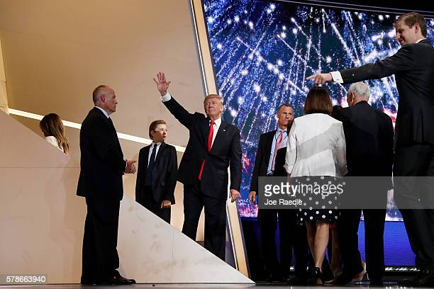 Republican presidential candidate Donald Trump waves as he acknowledges the crowd at the end of the Republican National Convention on July 21 2016 at...