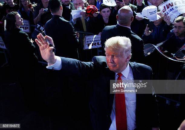 Republican presidential candidate Donald Trump waves to the crowd at the end of his campaign rally at the Indiana Farmers Coliseum on April 27 2016...